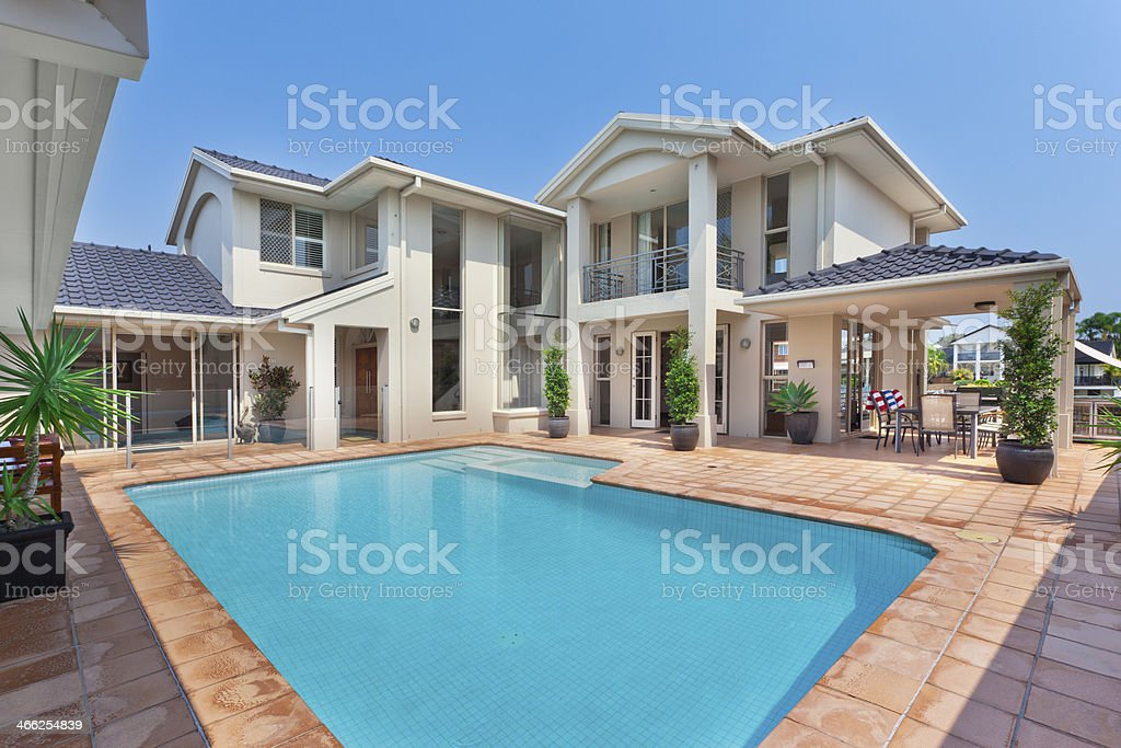 beautiful backyard with pool in australian mansion stock photo