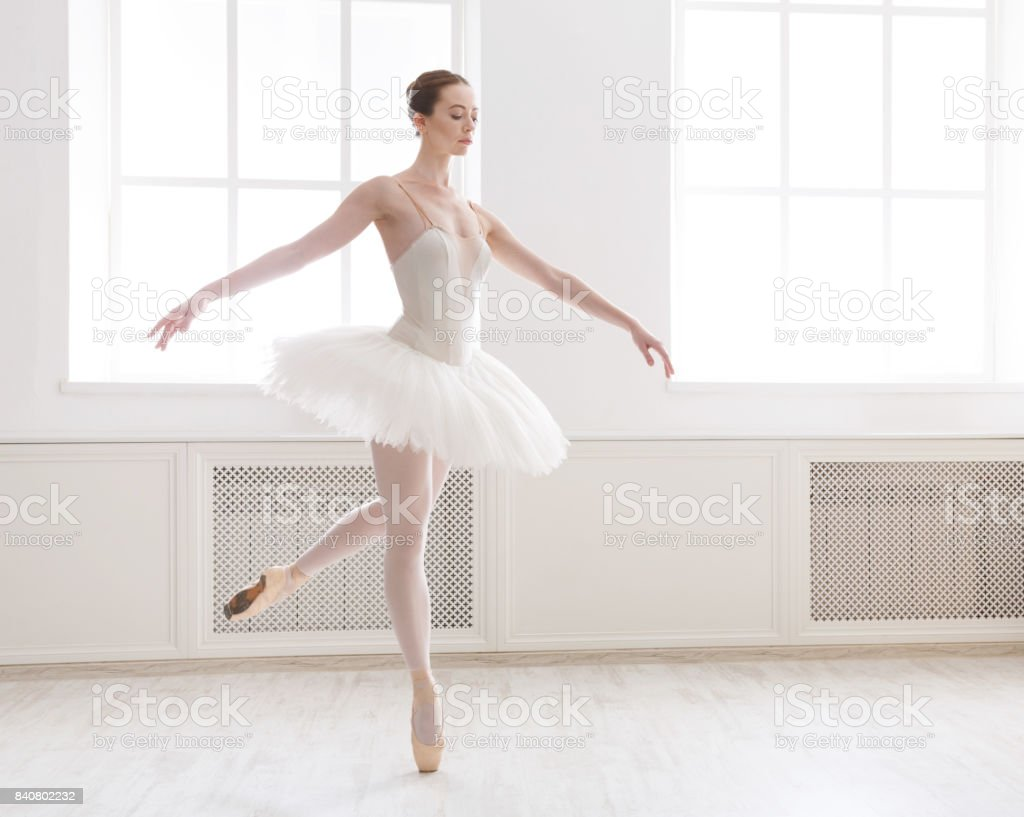 Beautiful ballerina dance in ballet class stock photo