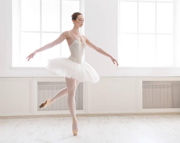 beautiful ballerina dance in ballet class - ballet dancer stock photos and pictures