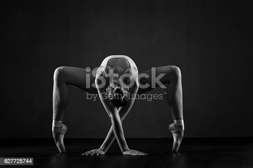 istock Beautiful ballerina exercises 627725744