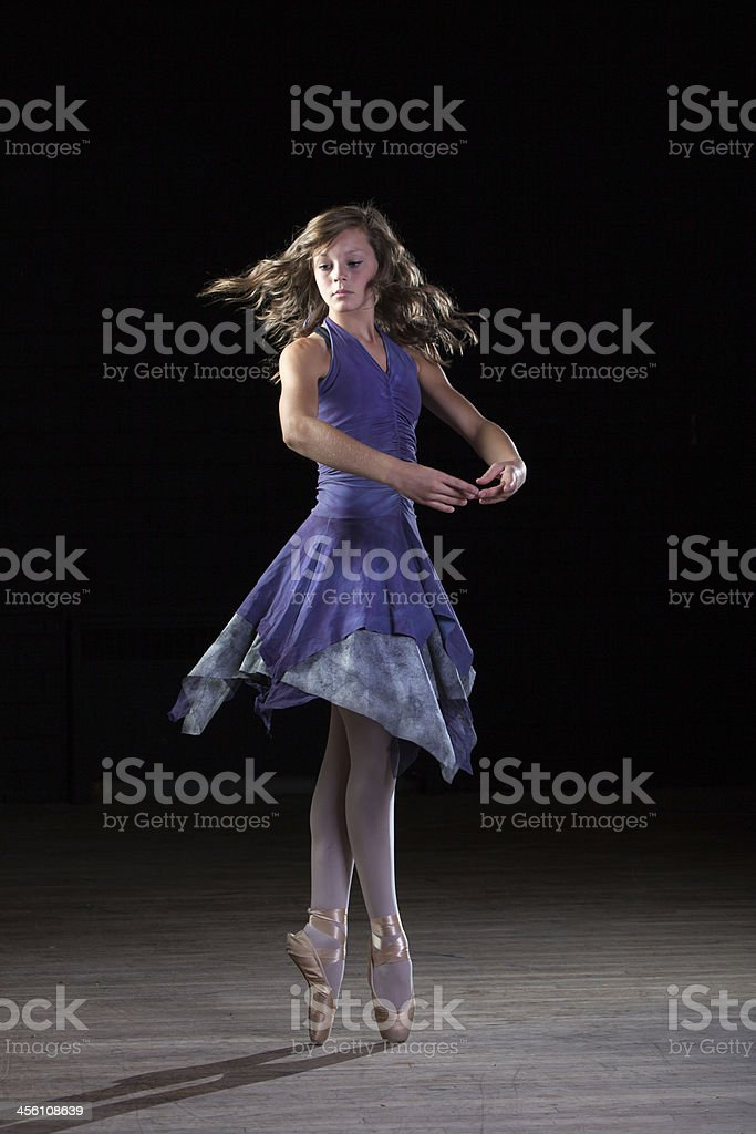 Beautiful Ballerina Twirling on Toes royalty-free stock photo