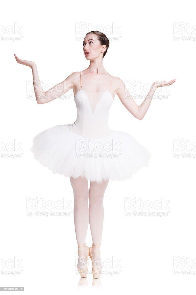 Beautiful ballerine dance in ballet position stock photo