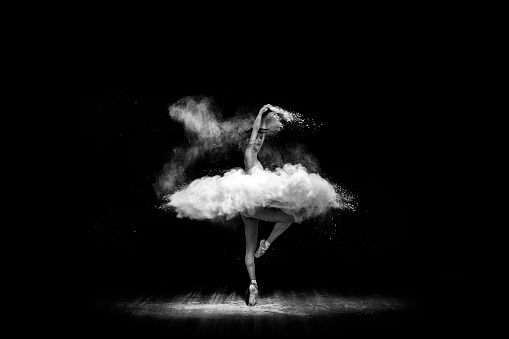Beautiful Ballet Dancer Dancing With Powder On Stage Stock Photo Download Image Now Istock