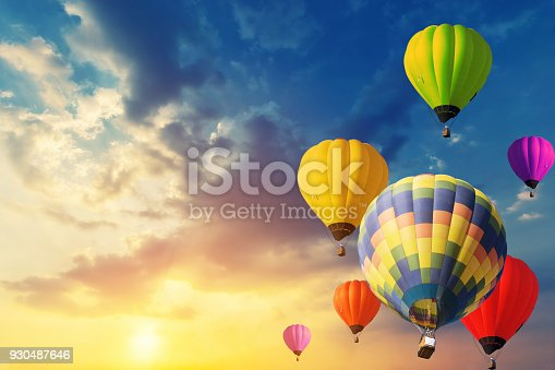 istock Beautiful balloon in the sky at sunset. 930487646