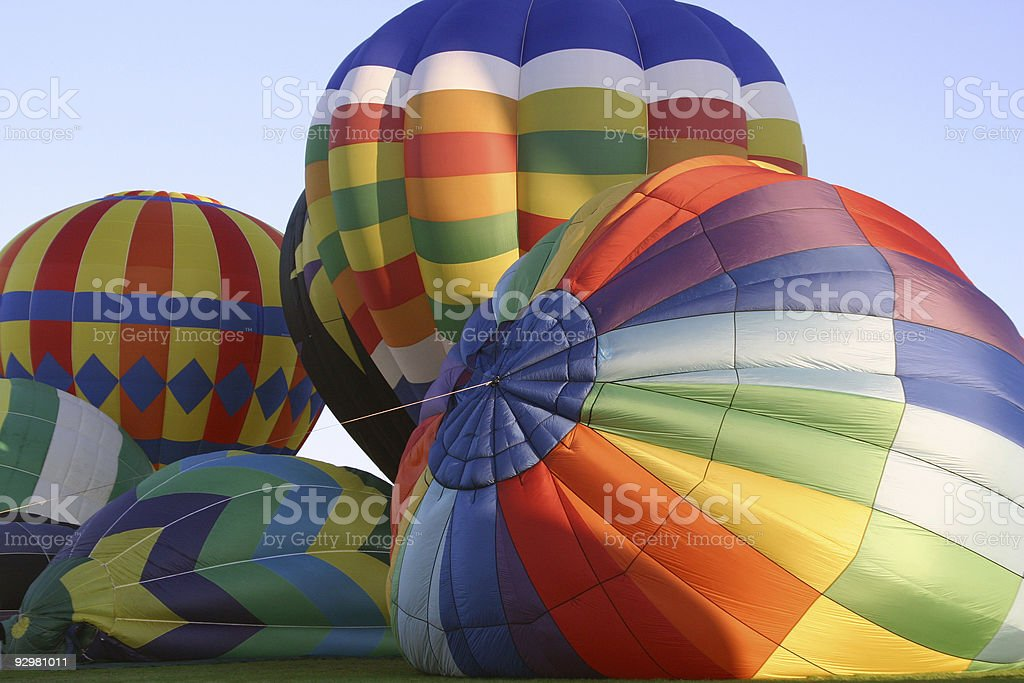 Beautiful Balloons being inflated in the early morning royalty-free stock photo
