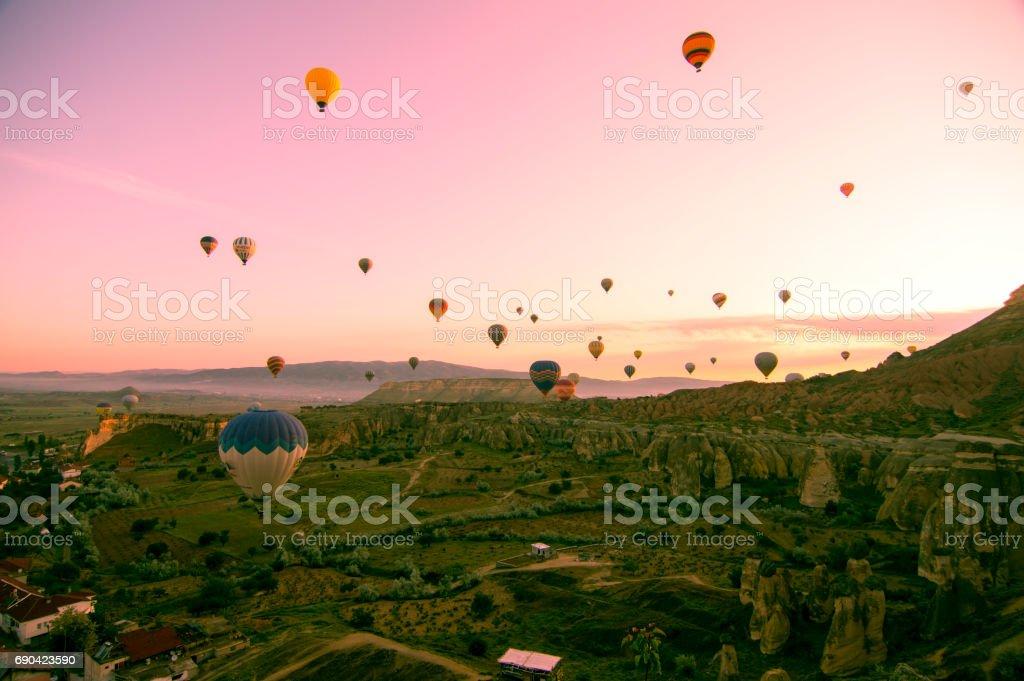 Beautiful balloons in sunrise light in Cappadocia stock photo