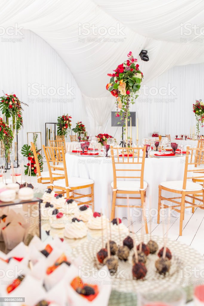 Beautiful Banquet Hall Under A Tent For A Wedding Reception Interior