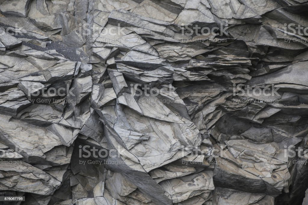 Beautiful basalt formations on Reynisfjara beach in Iceland stock photo