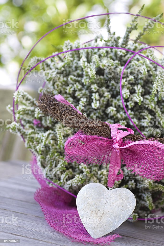 Beautiful basket with a stone heart and heather royalty-free stock photo