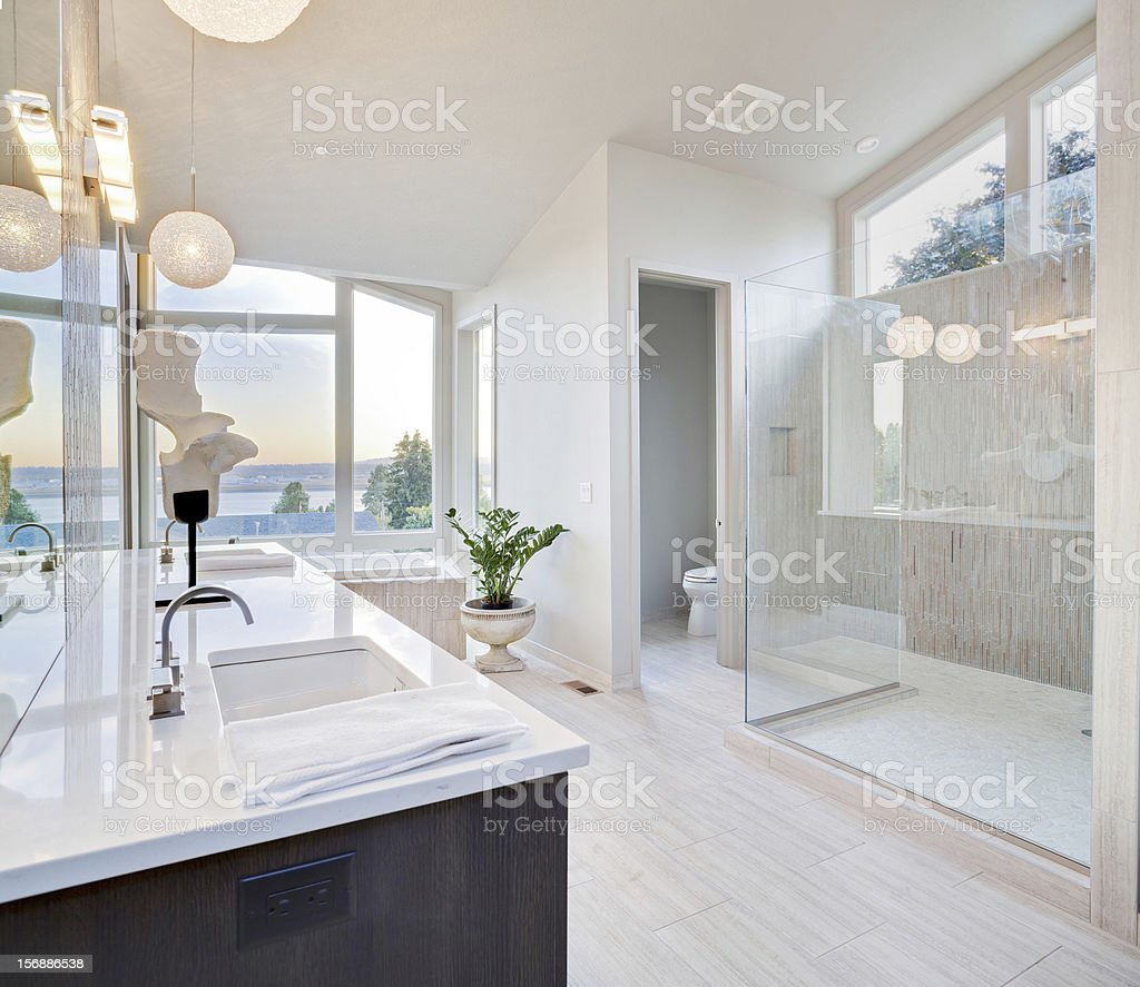 Beautiful Bathroom in Luxury Home stock photo