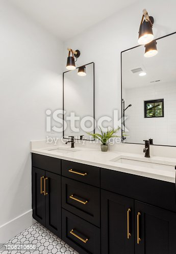 bathroom with beautiful cabinets and finishes