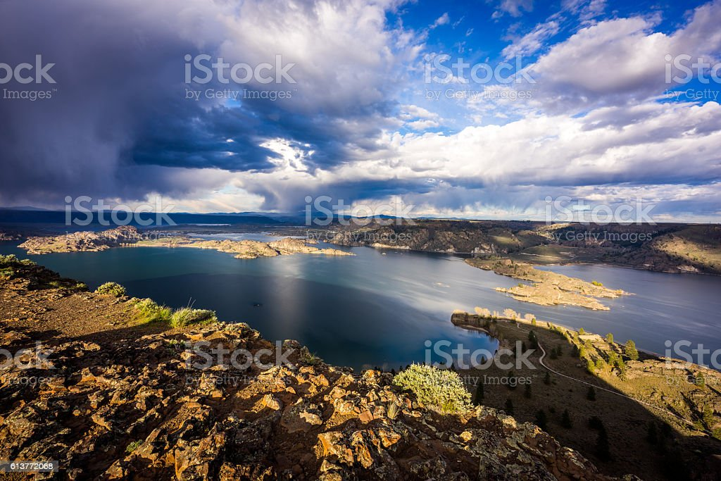 Beautiful bay between the rocks. View from above stock photo
