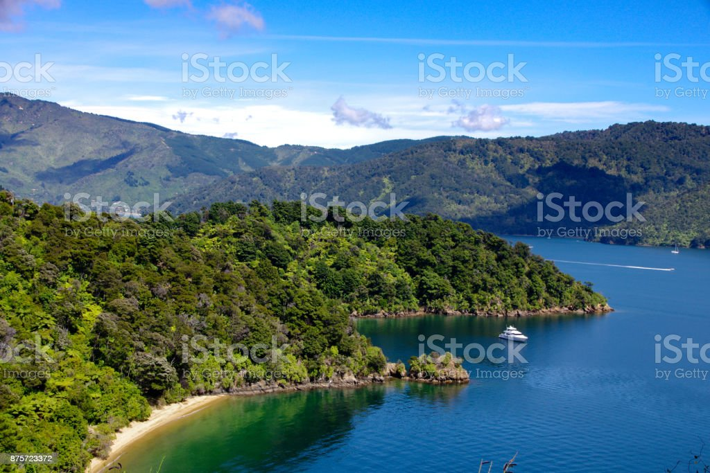 Beautiful Bay close to Queen Charlotte Drive stock photo
