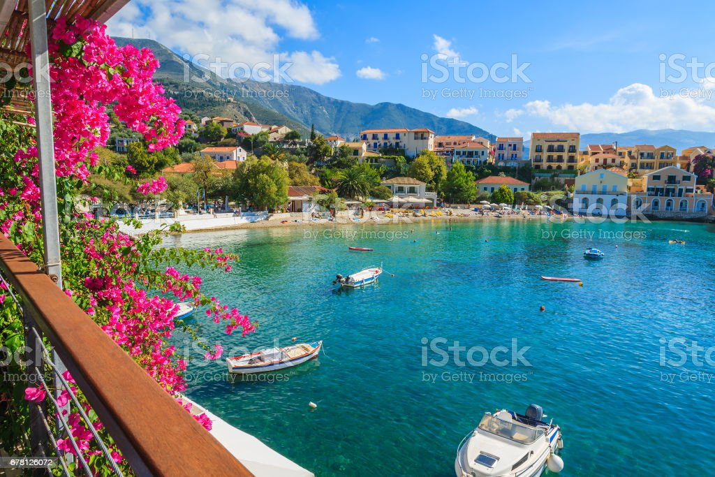 Beautiful bay in Assos fishing village on coast of Kefalonia island, Greece stock photo