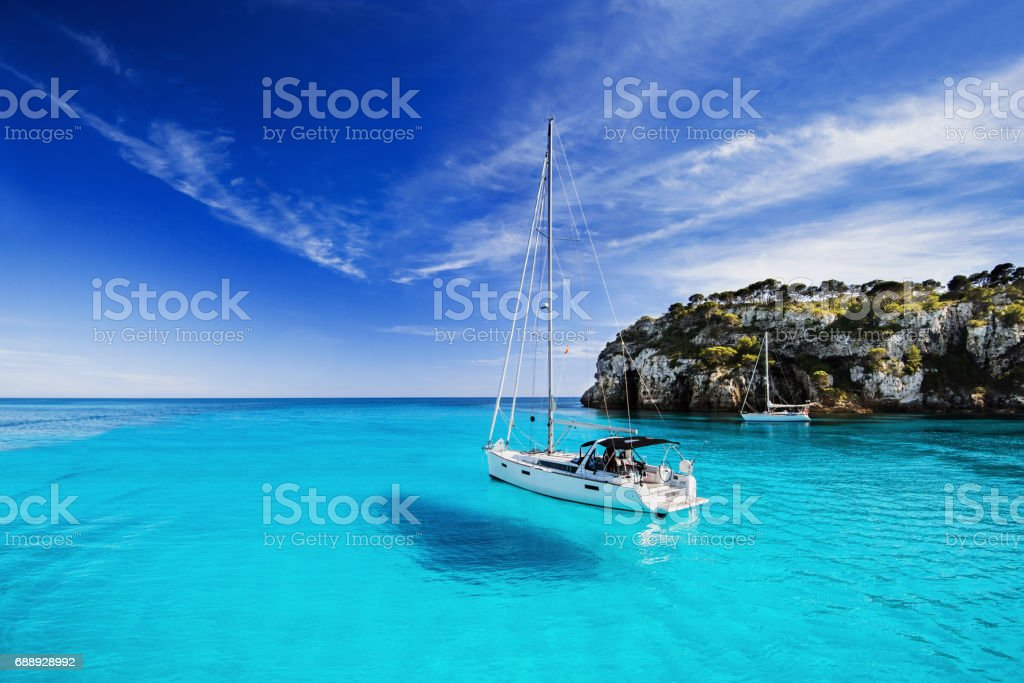 Beautiful bay in Mediterranean sea stock photo
