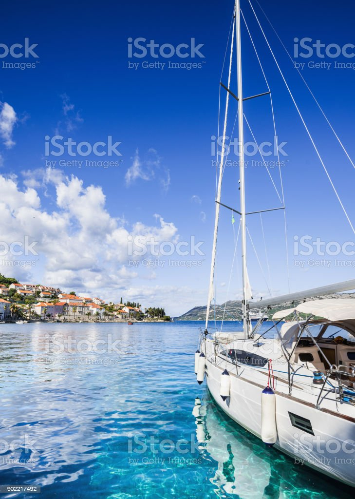 Beautiful bay in Mediterranean sea stock photo