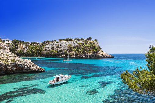 istock Beautiful bay in Mediterranean sea with sailing boats 953535092