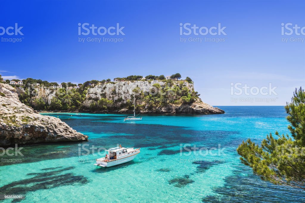 Beautiful bay in Mediterranean sea with sailing boats stock photo