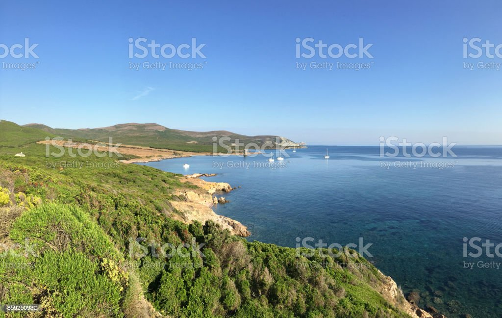 Beautiful bay of Cap Corso. Corsica, France. stock photo