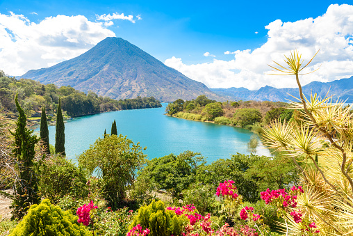 istock Beautiful bay of Lake Atitlan with view to Volcano San Pedro  in highlands of Guatemala, Central America 870585478