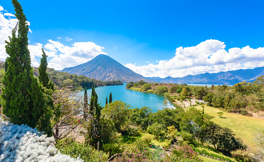 istock Beautiful bay of Lake Atitlan with view to Volcano San Pedro  in highlands of Guatemala, Central America 917881602