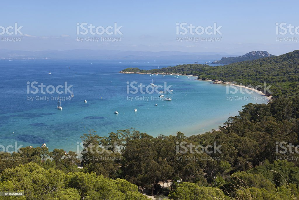 Beautiful bay of Porquerolles island in France stock photo