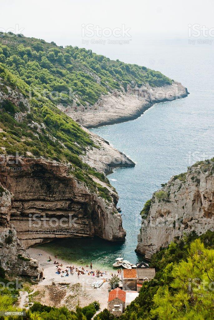 Beautiful bay on Vis Island, Croatia stock photo