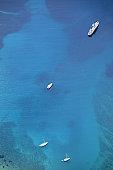 Moored boat in a beautiful bay on the island of Losinj-3000 feet altitude-Croatia