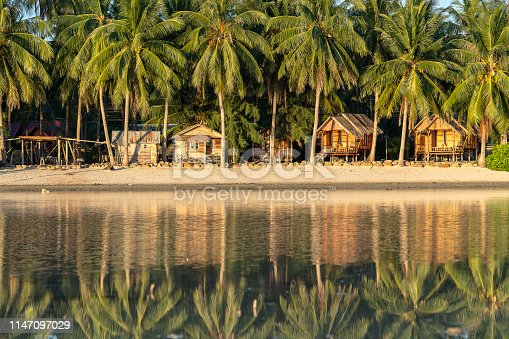 Beautiful bay with coconut palm trees and wooden bungalows which is reflected in seawater. Tropical sand beach, green palm leaf and sea water on the island Koh Phangan, Thailand