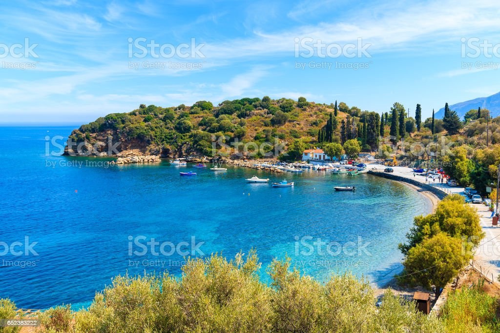 Beautiful bay with fishing port on Samos island, Greece stock photo