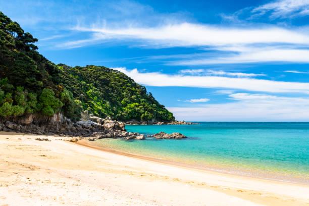 에 아벨 태 즈만 국립 공원, 뉴질랜드 남 섬, 해안선을 따라 아름 다운 해변. - 태즈먼 해 뉴스 사진 이미지
