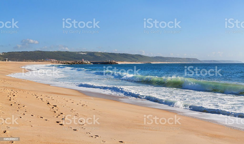Beautiful beach and coast in Portugal, Nazare stock photo