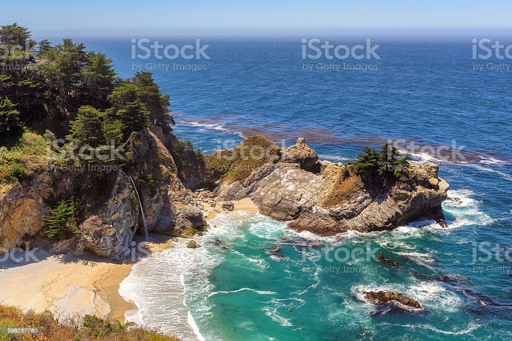Beautiful beach and falls on the California coast stock photo