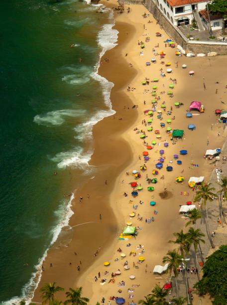 Beautiful beach and its bech umbrellas from above stock photo