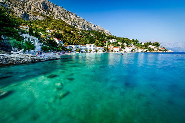 beautiful beach and transparent turquoise adriatic sea - golf sommar skugga bildbanksfoton och bilder