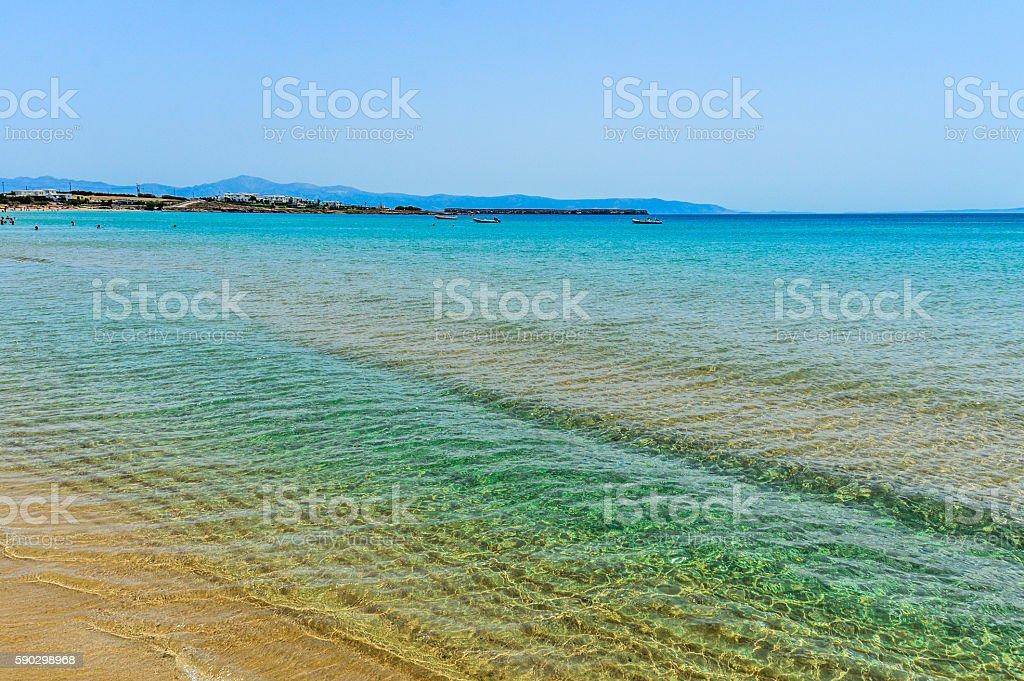 Beautiful beach and tropical sea - Mykonos, Greece royaltyfri bildbanksbilder