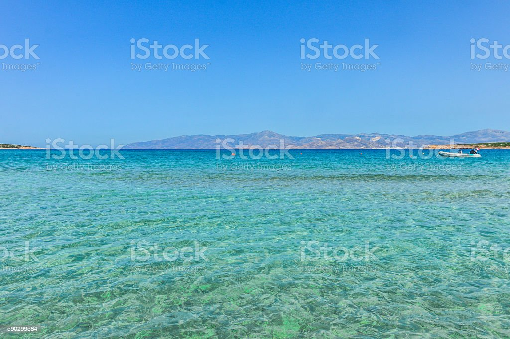 Beautiful beach and tropical sea - Mykonos, Greece royaltyfri bildbanksbilder