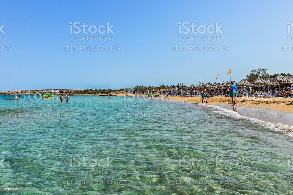 Beautiful beach and tropical water - Paros, Greece royaltyfri bildbanksbilder