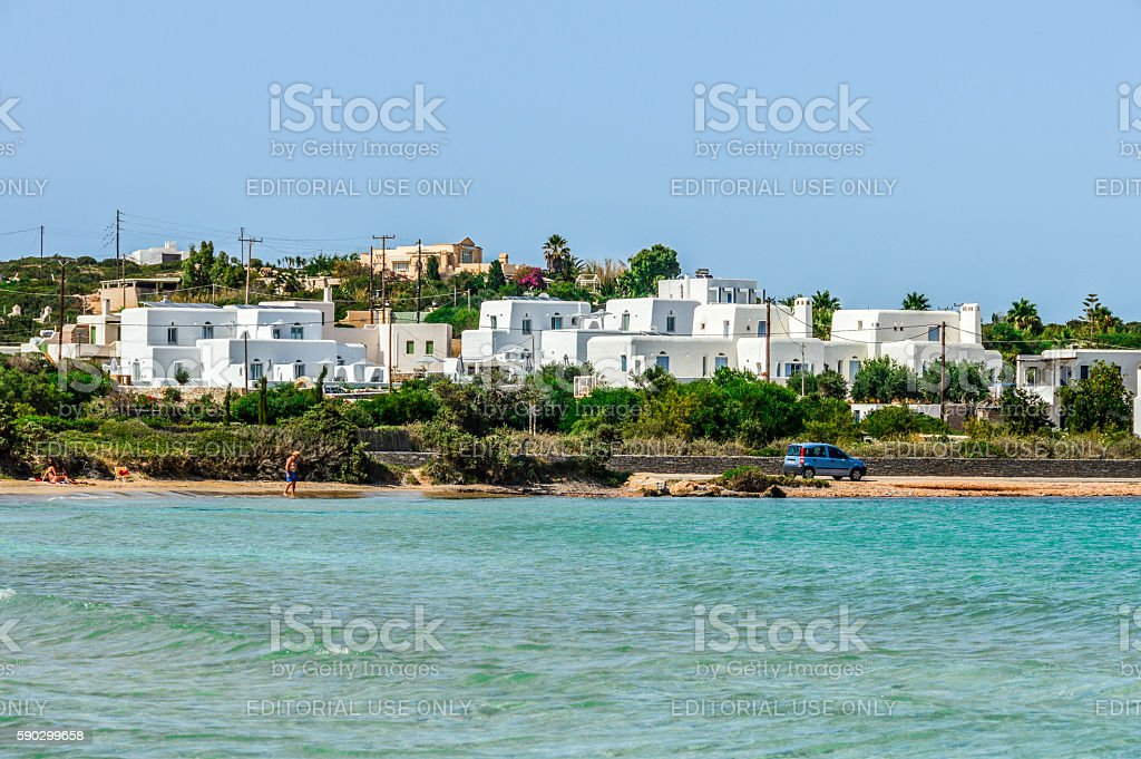 Beautiful beach and tropical water - Paros, Greece royaltyfri bildbanksbilder