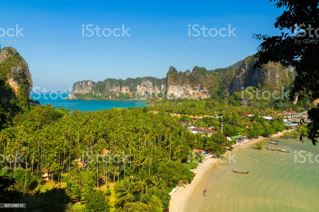 Beautiful beach and turquoise water in Thailand stock photo