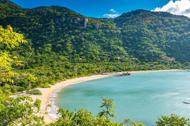 beautiful beach at coast of vietnam - ninh van bay - bay of water stock pictures, royalty-free photos & images