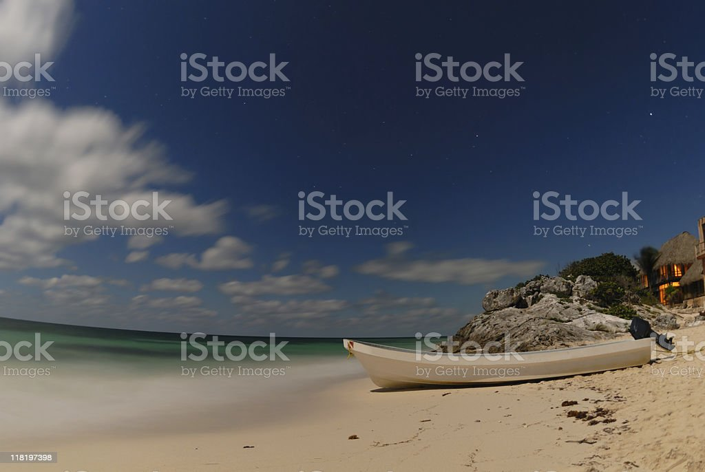 Beautiful beach at night royalty-free stock photo
