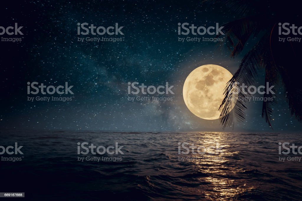 Beautiful beach at night stock photo