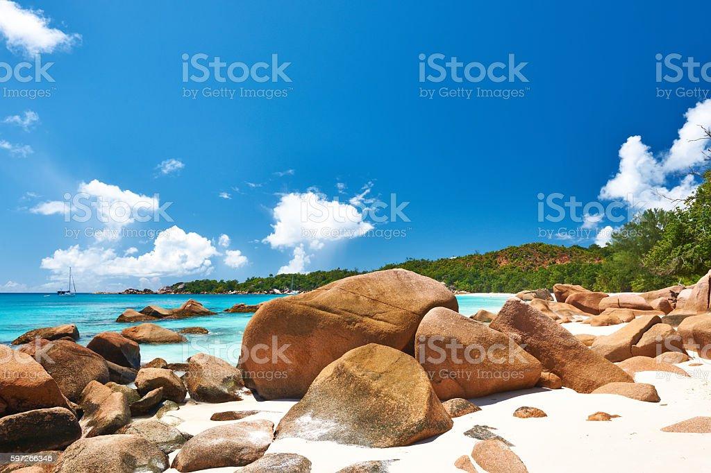 Belle plage au Seychelles  photo libre de droits