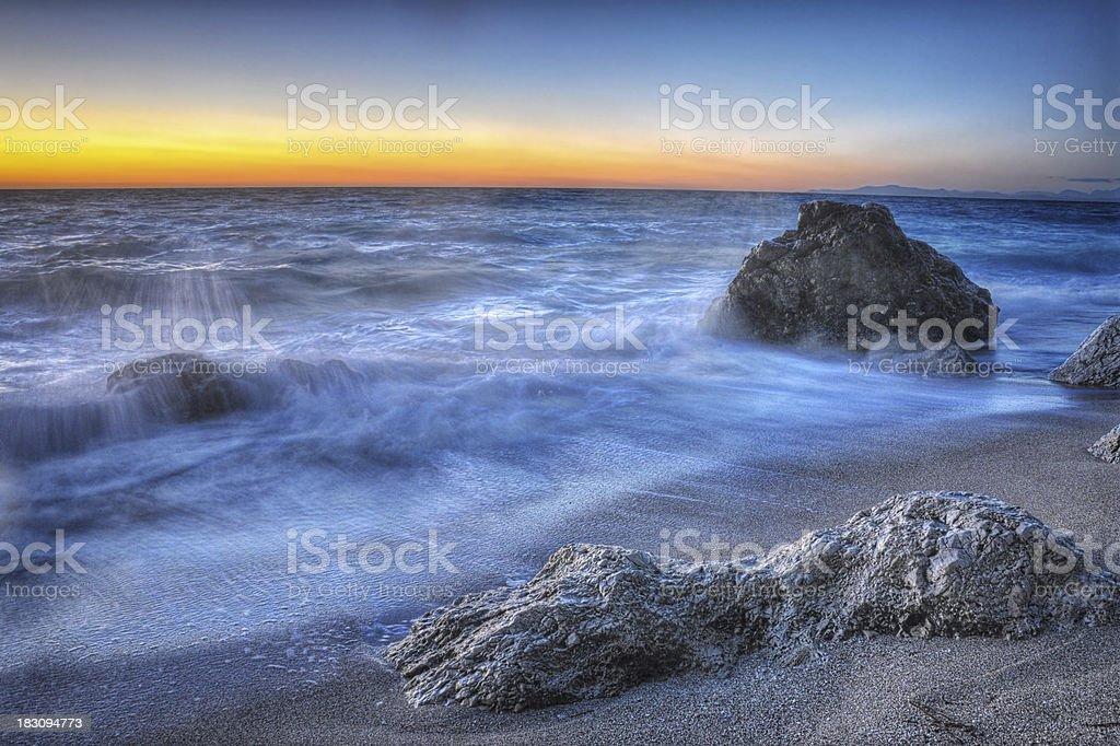 Beautiful beach at sunset in Lefkada,Greece stock photo