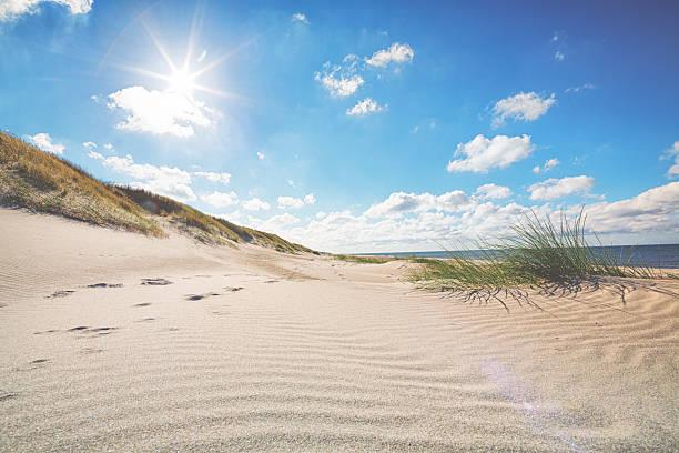 Beautiful beach by the North Sea stock photo