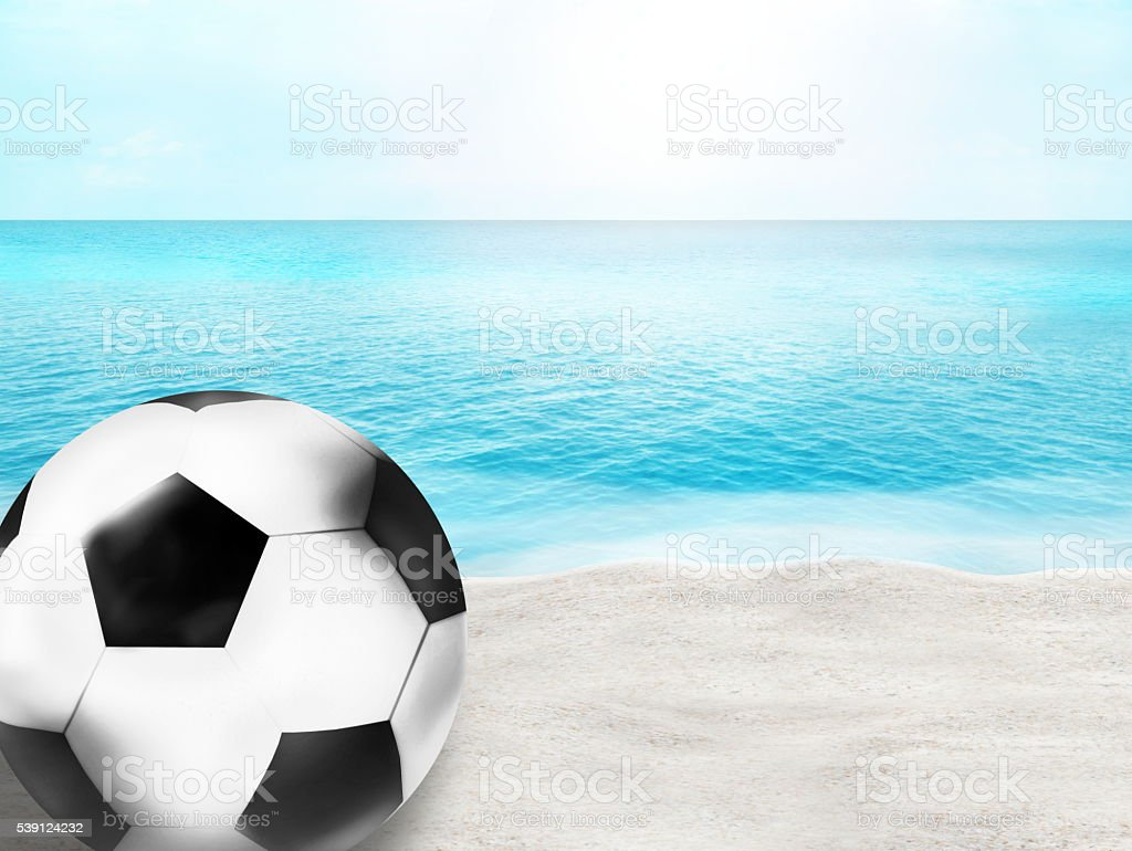beautiful beach football soccer ball 3D ball background design stock photo