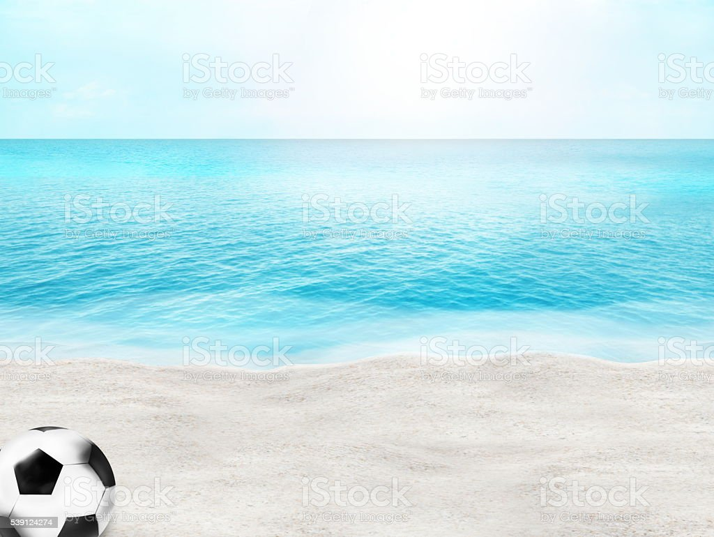 beautiful beach football soccer ball 3D ball sand water stock photo