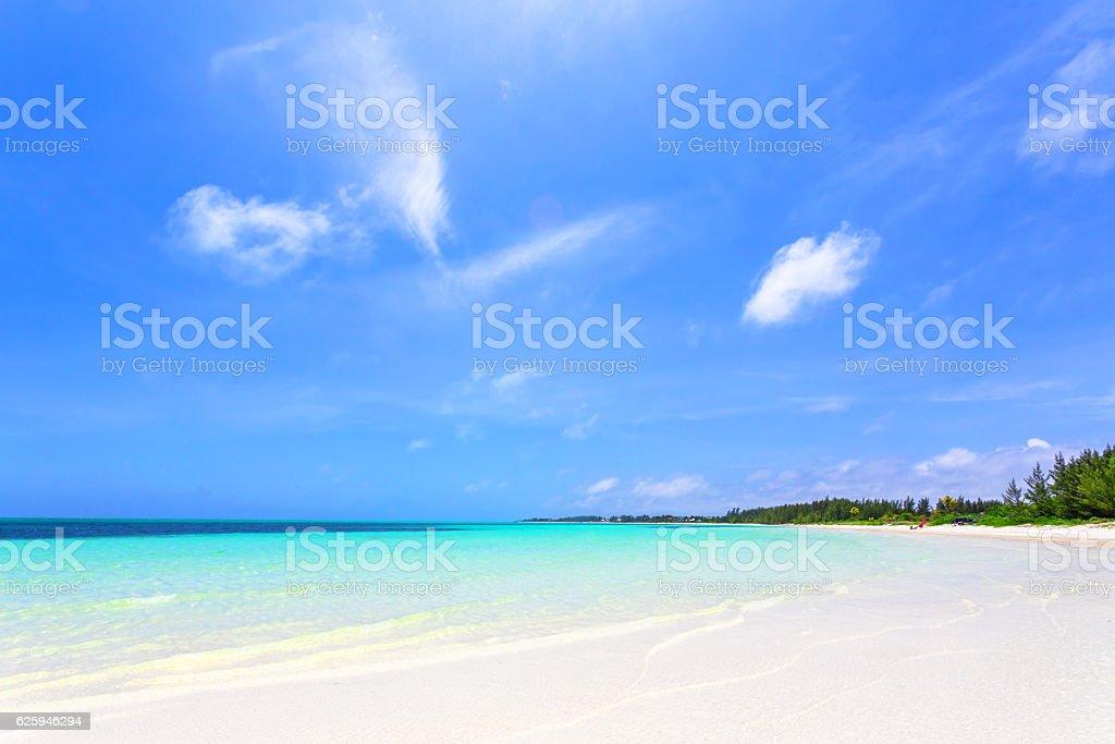 Beautiful beach in Bahamas and idyllic islands in a sunny day stock photo