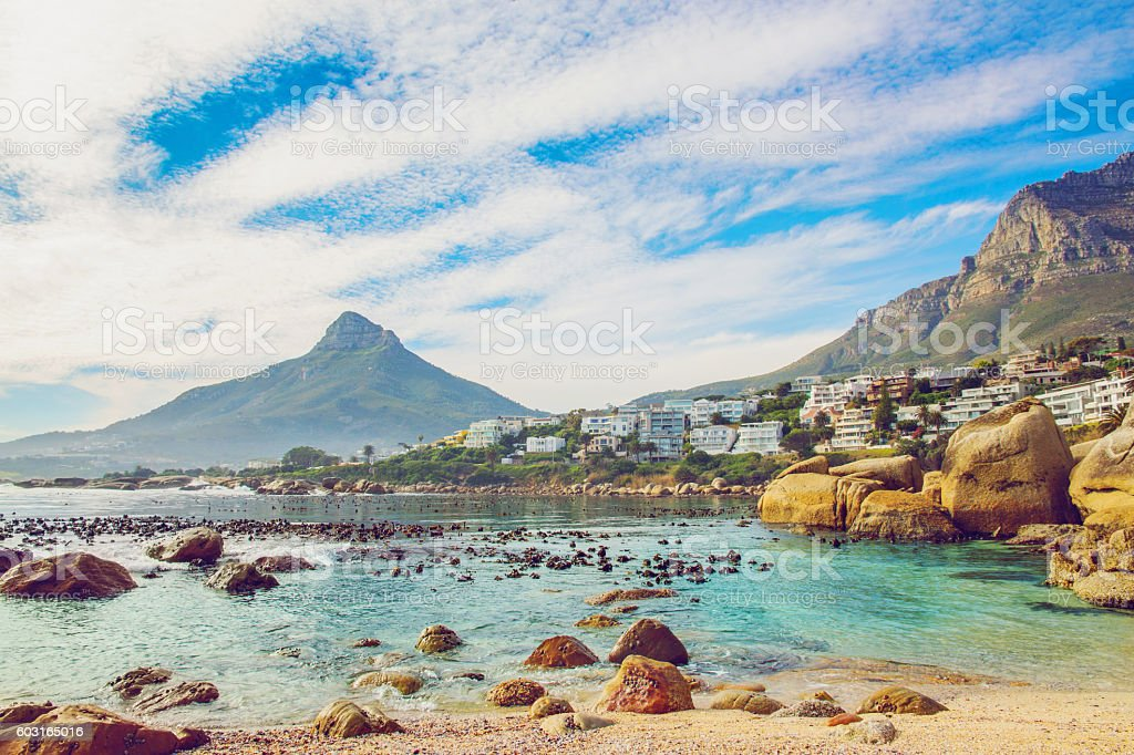 Beautiful beach in Cape Town stock photo